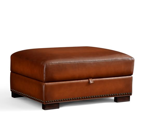 Turner leather storage ottoman with nailheads pottery barn for Storage ottoman singapore