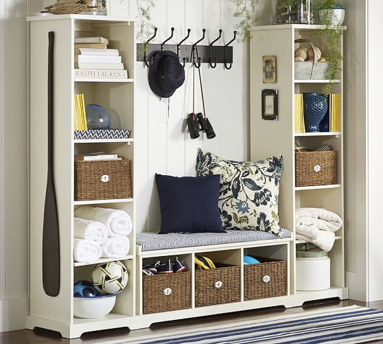 Samantha 3 Piece Bench amp Bookcase Entryway Set Pottery Barn