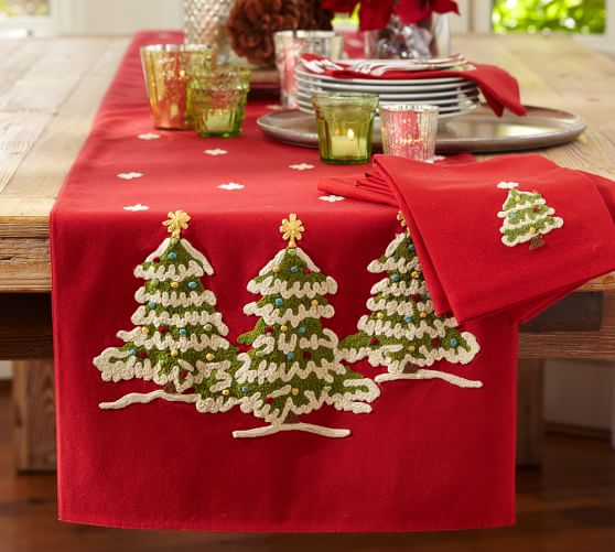 Christmas Tree Crewel Embroidered Table Runner Pottery Barn