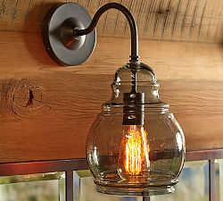 Rustic Glass Indoor Outdoor Sconce Pottery Barn