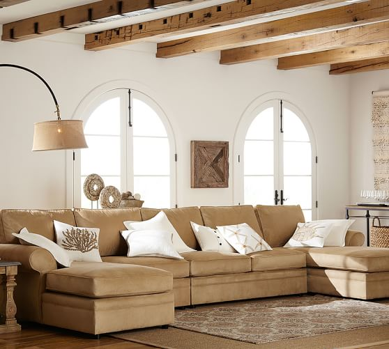 Pottery Barn Furniture Reviews Pearce Sectional: Pearce Upholstered 4-Piece Double Chaise Sectional