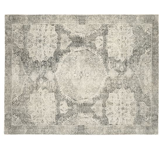 Barret Printed Wool Rug Gray Pottery Barn