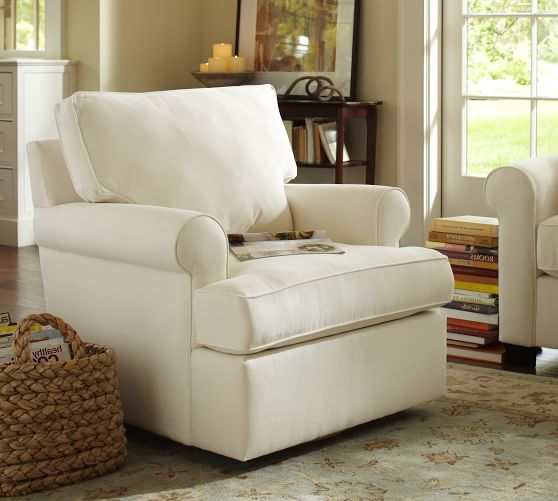 Buchanan roll arm upholstered swivel armchair pottery barn for Upholstered living room chairs with arms
