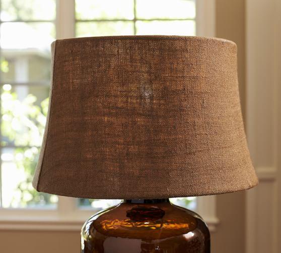 Burlap Lamp Shades : Espresso burlap tapered drum lamp shade pottery barn