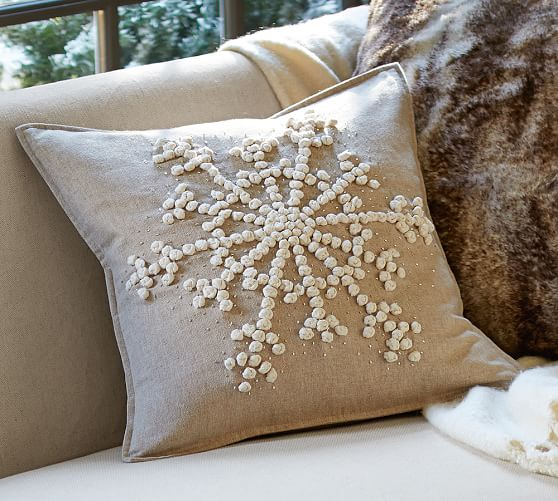 Pottery Barn Decorative Pillow Covers : Knotted Snowflake Embroidered Pillow Cover Pottery Barn