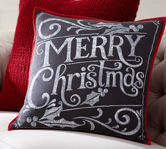 merry christmas pillow cover pottery barn. Black Bedroom Furniture Sets. Home Design Ideas