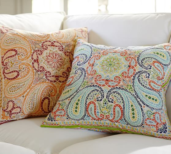 Pottery Barn Decorative Pillow Covers : Lia Paisley Pillow Cover Pottery Barn