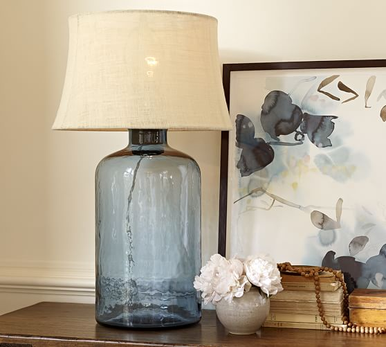 Glass table lamp pottery barn clift glass table lamp base light blue pottery barn