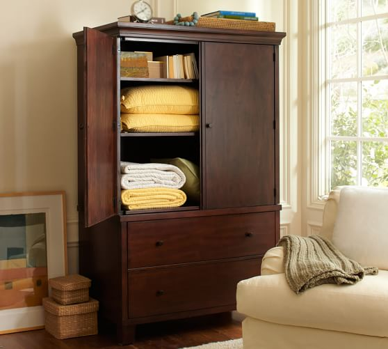 Valencia armoire pottery barn for Bedroom armoire with tv storage