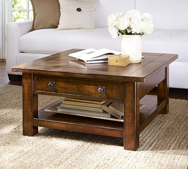 benchwright square coffee table pottery barn