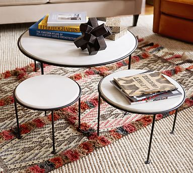 Louise Marble Top Nesting Tables Set Of 3 Pottery Barn