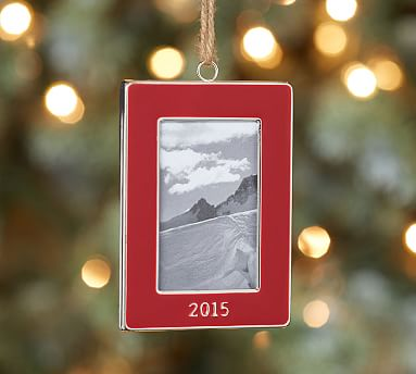2015 Dated Red Enamel Frame Ornament Pottery Barn