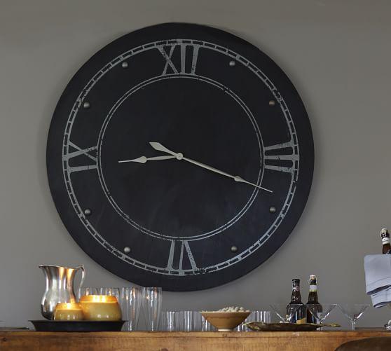 Large Round Steel Clock Pottery Barn