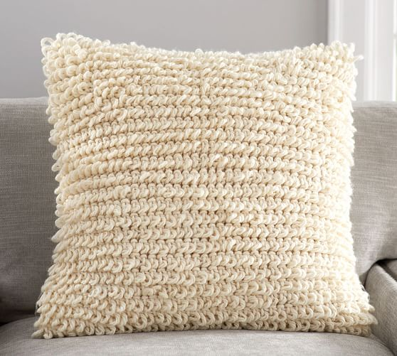 Knitting Pillow Cover : Loopy knit pillow cover pottery barn