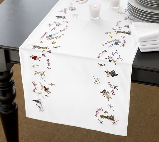 Setting A Table With Pottery Barn Reindeer Reindeer Table Runner Pottery  Barn
