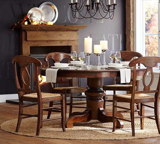 Pottery Barn Dining Set: Tivoli Extending Pedestal Table & Napoleon Chair 5-Piece