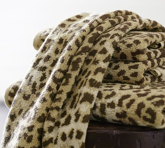 Leopard Jacquard 600 Gram Weight Bath Towels Pottery Barn
