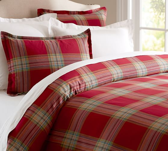 Blake Plaid Duvet Cover u0026 Sham : Pottery Barn