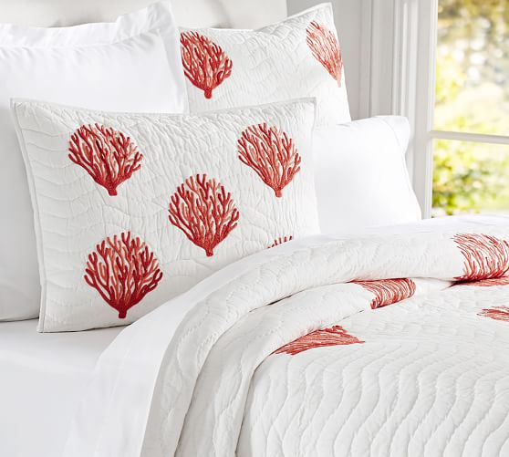 Coral Embroidered Quilt & Sham