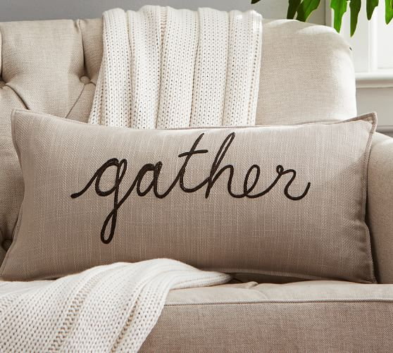 thanksgiving sentiment lumbar pillow cover pottery barn. Black Bedroom Furniture Sets. Home Design Ideas