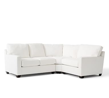 Buchanan square arm upholstered curved 3 piece sectional for Buchanan chaise sofa from pottery barn