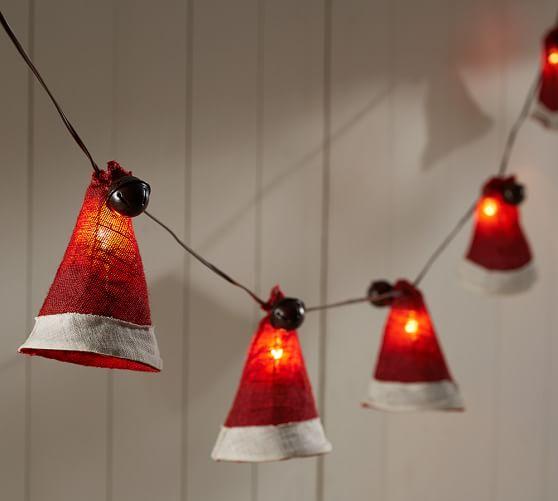 Burlap Santa Hat String Lights Pottery Barn