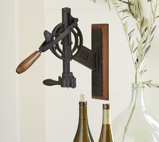 vintner 39 s wall mount wine opener pottery barn
