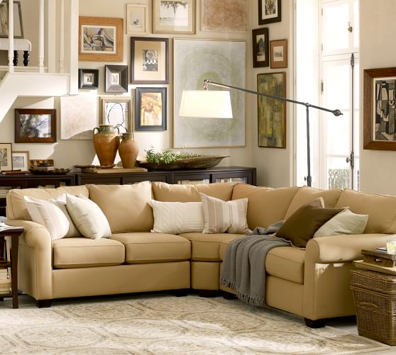 Buchanan roll arm upholstered curved 3 piece l shaped for Small sectional sofa pottery barn