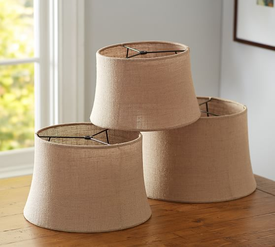 burlap sheer tapered drum lamp shade pottery barn. Black Bedroom Furniture Sets. Home Design Ideas