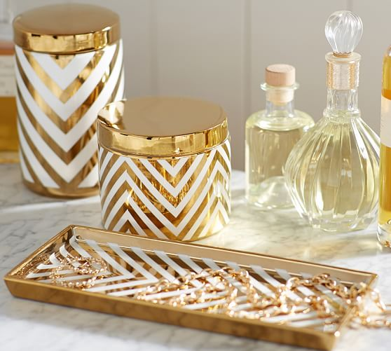Gold chevron accessories pottery barn for Gold bathroom decor