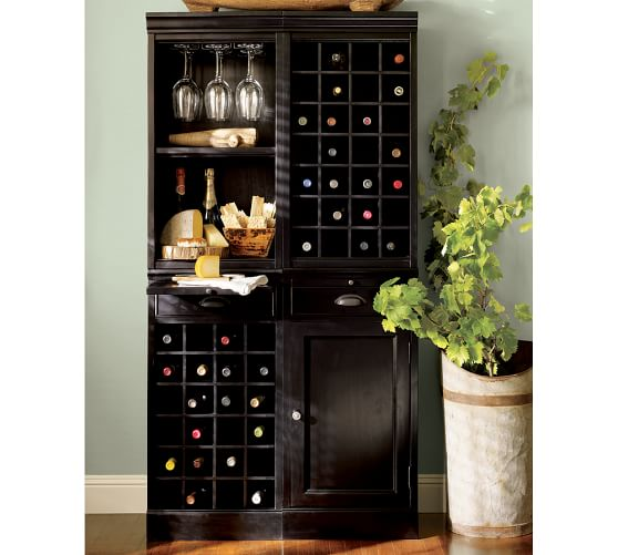 Modular Bar System With 1 Wine Hutch 1 Open Hutch Pottery Barn