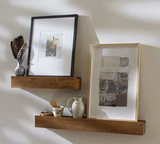 Rustic wood ledges pottery barn for Wall shelves and ledges