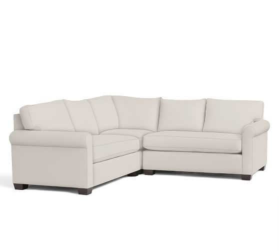 York Roll Arm Upholstered 3-Piece L-Shaped Sectional With