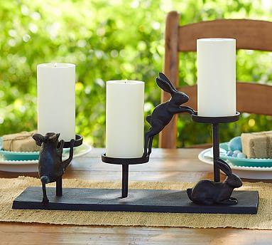 bronze bunny pillar holder centerpiece pottery barn. Black Bedroom Furniture Sets. Home Design Ideas