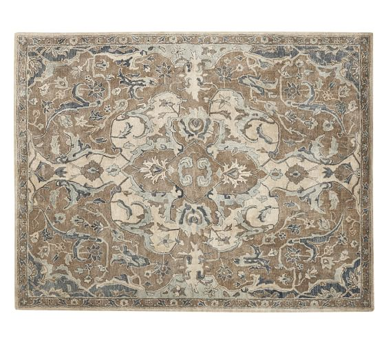 Nolan persian style rug neutral pottery barn for Dining room rugs 9x12