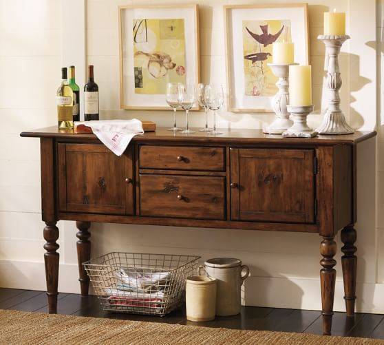 Tivoli buffet tuscan chestnut stain pottery barn - Console table a manger ...