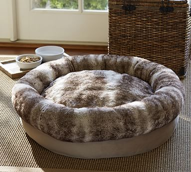 Faux Fur Bolster Dog Bed Pottery Barn