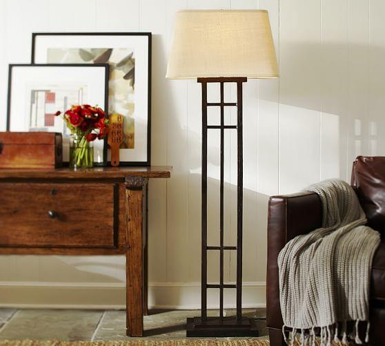 gavin iron floor lamp base pottery barn. Black Bedroom Furniture Sets. Home Design Ideas