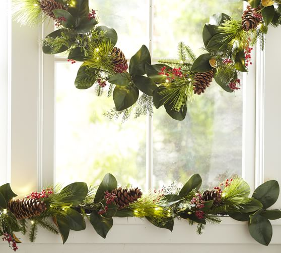 Lit Faux Magnolia amp Red Berry Garland Pottery Barn