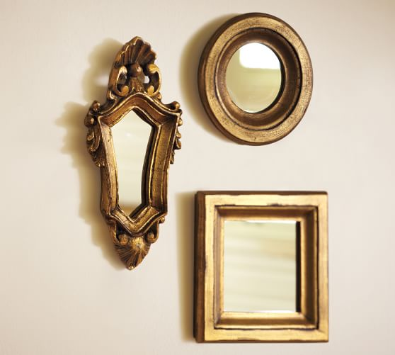 mini gilded gold mirrors set of 3 pottery barn. Black Bedroom Furniture Sets. Home Design Ideas