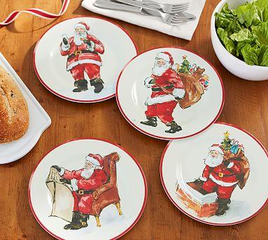 Painted Santa Melamine Salad Plates Mixed Set Of 4