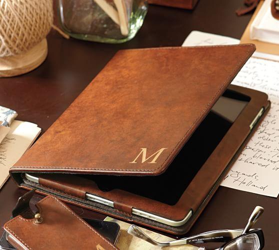 Saddle Leather Tablet Case Pottery Barn