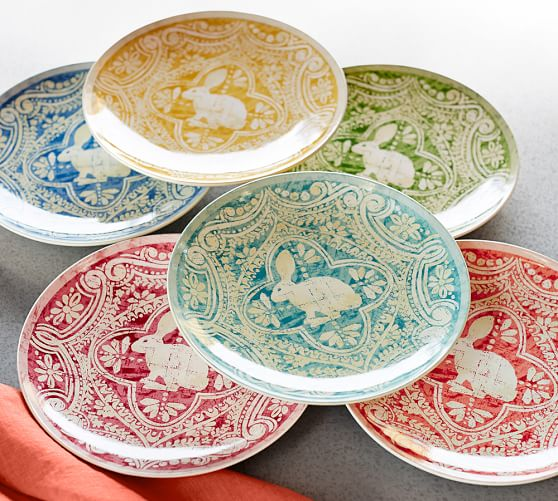 graphic bunny plate set of 4 pottery barn