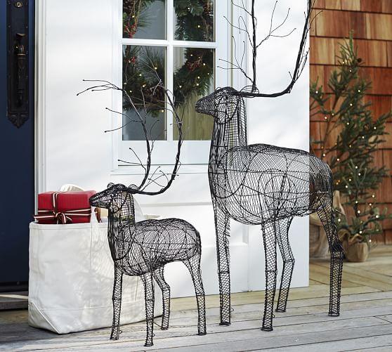 Outdoor woven metal reindeer pottery barn