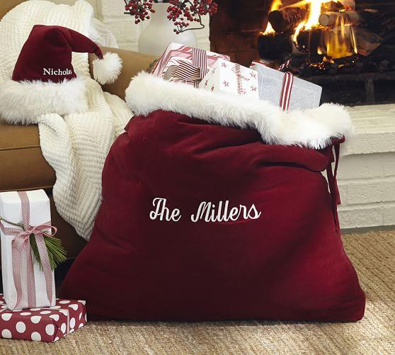 Santa Claus Velvet Hat Amp Bag Pottery Barn
