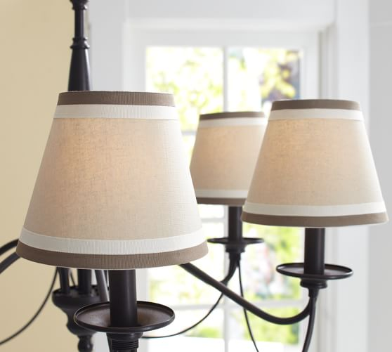 Pottery Barn Mini Lamp Shades: Grosgrain Ribbon Chandelier Shade, Set Of 3