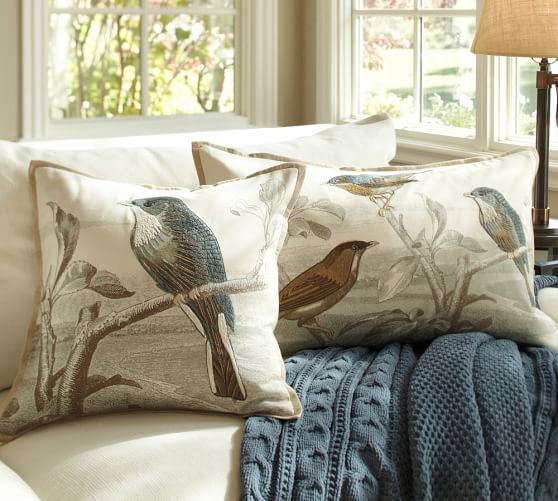 sky bird embroidered pillow covers pottery barn With bird pillows pottery barn