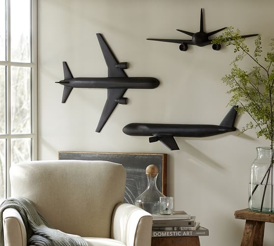 Cast plane set of 3 pottery barn for Airplane wall decoration