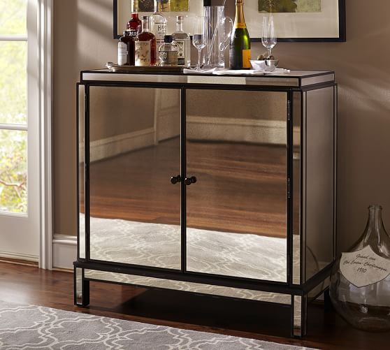Marnie Mirrored Bar Cabinet Pottery Barn