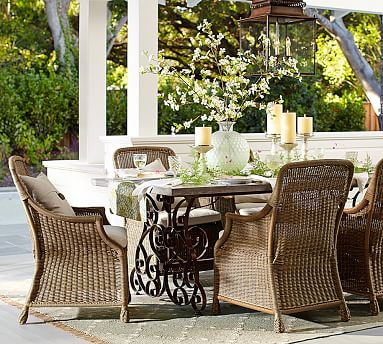 Rosalie Dining Table Saybrook Armchair Set Custom Fit Outdoor Furniture Cover Pottery Barn